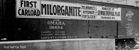 The first rail car to transport Milorganite fertilizer