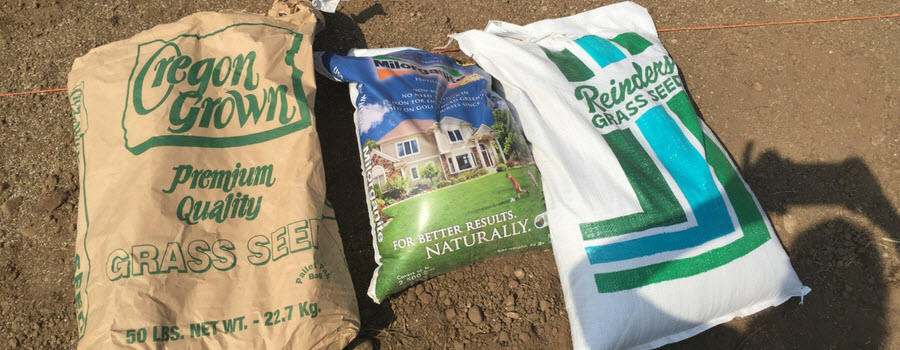 Bags of grass seed and Milorganite fertilizer