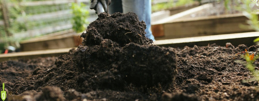 Amending soil in garden bed