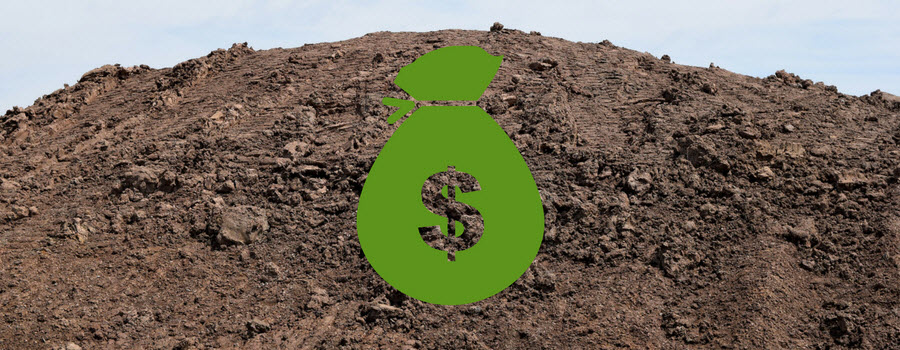 mound of soil with dollar sign