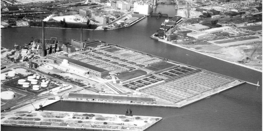 historical shot of Jones Island Wastewater Treatment Plant