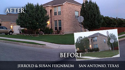 A nice green lawn in Texas after having followed Milorganite's reccomended fertilization schedule.