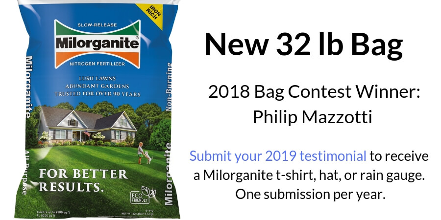 32 lb Milorganite fertilizer bag