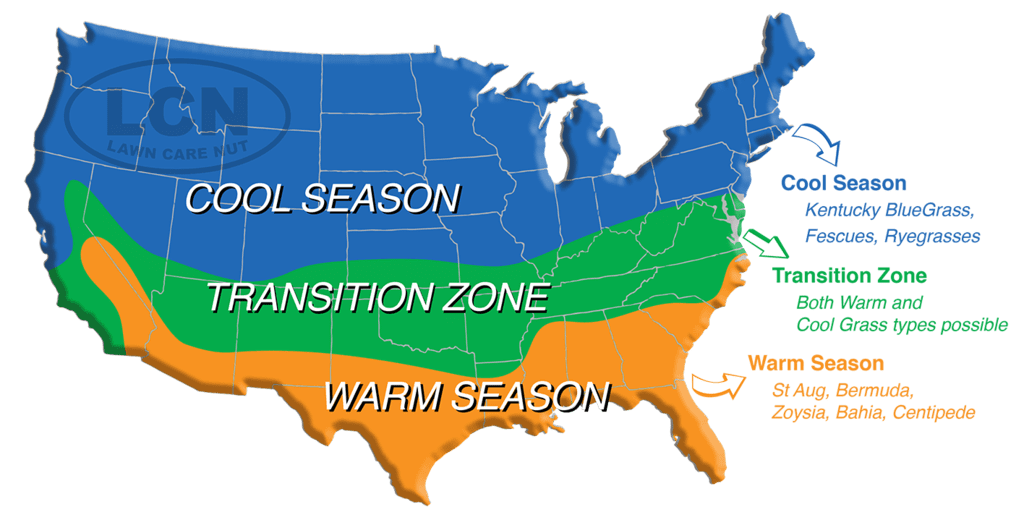 USA map of cool and warm season grasses