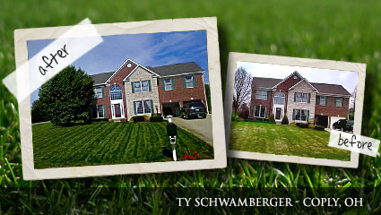 Before-and-after photos of a now healthy and green lawn after using Milorganite fertilizer.