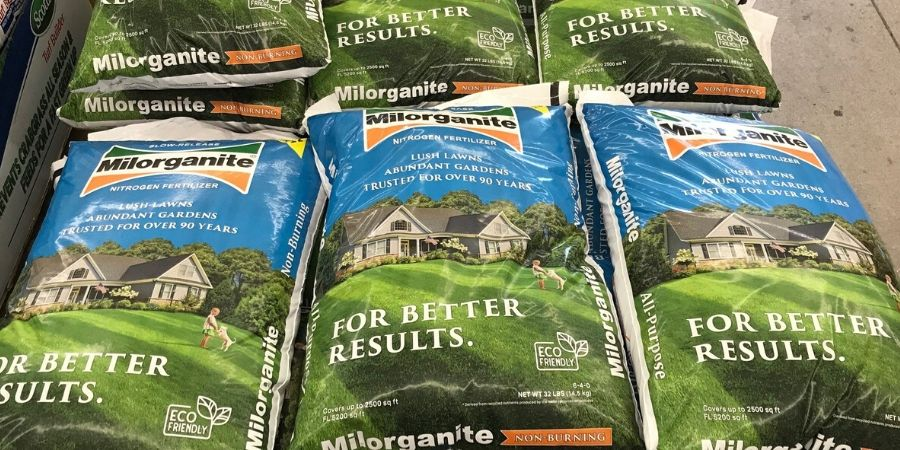 stack of milorganite bags
