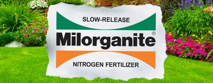 Milorganite slow release nitrogen fertilizer logo