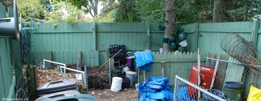 Compost Bins in a Fenced in Area